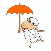image of animated cartoon  - A funny cartoon sheep with an umbrella - JPG