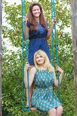 stock photo of swing  - Young girls are on handmade swing in summer apple trees garden - JPG