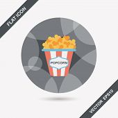 picture of popcorn  - Popcorn Flat Icon With Long Shadow - JPG