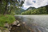 image of pieniny  - Dunajec River in Pieniny Mountains in distance Trzy korony and Facimiech - JPG