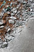 image of slab  - Destruction from a broken concrete floor slab - JPG