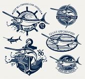 stock photo of spearfishing  - Vintage swordfish fishing emblems - JPG
