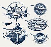 pic of spearfishing  - Vintage swordfish fishing emblems - JPG