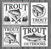 image of trout fishing  - Vintage trout fishing emblems - JPG