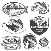 stock photo of aquatic animal  - Vintage trout fishing emblems - JPG