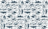 stock photo of trout fishing  - Pattern with trout fishing emblems - JPG