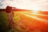 picture of descending  - Mountain biking down hill descending fast on bicycle - JPG