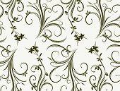 stock photo of gamma  - Seamless floral pattern in gray gamma - JPG