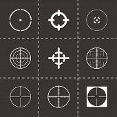 pic of crosshair  - Vector crosshair icons set on black background - JPG