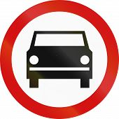 stock photo of motor vehicles  - Polish sign prohibiting thoroughfare for all motor vehicles  - JPG