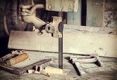 stock photo of carpentry  - Retro filtered picture of old carpentry tools - JPG