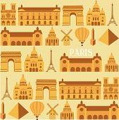 stock photo of moulin rouge  - Paris illustration pattern with landmarks - JPG