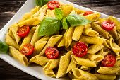 pic of pesto sauce  - Pasta with pesto sauce and vegetables - JPG