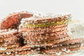 pic of underground water  - Old thai coin under water with small air bubbles - JPG