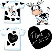 stock photo of calf cow  - shirt with cute black and white cow  - JPG