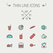 image of continental food  - Food and drink thin line icon set for web and mobile - JPG
