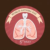 foto of asthma  - illustration of a Lung for World Asthma Day in brown background - JPG