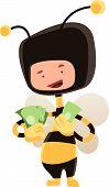 stock photo of bee cartoon  - Man in honey bee costume holding money vector illustration cartoon character - JPG