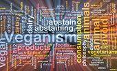stock photo of vegan  - Background text pattern concept wordcloud illustration of veganism vegan glowing light - JPG