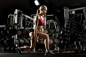 picture of execution  - beautiful girl bodybuilder execute exercise with dumbbells in dark gym - JPG