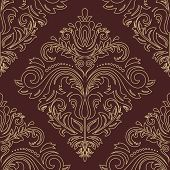 pic of damask  - Damask  floral pattern with arabesque and oriental golden elements - JPG