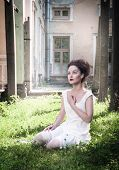 image of gothic girl  - Beautiful young gothic girl in white shirt outdoor - JPG
