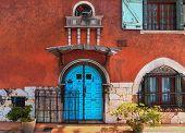 picture of vivid  - Traditional european vivid facade with entance door - JPG
