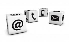 picture of blog icon  - Web contact us Internet concept with email mobile phone and at black icons and symbol on four white cubes for website blog and on line business - JPG