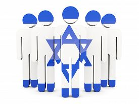 foto of israel people  - People with flag of israel isolated on white - JPG
