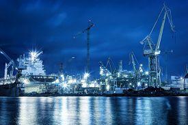 image of shipyard  - Shipyard at work - JPG