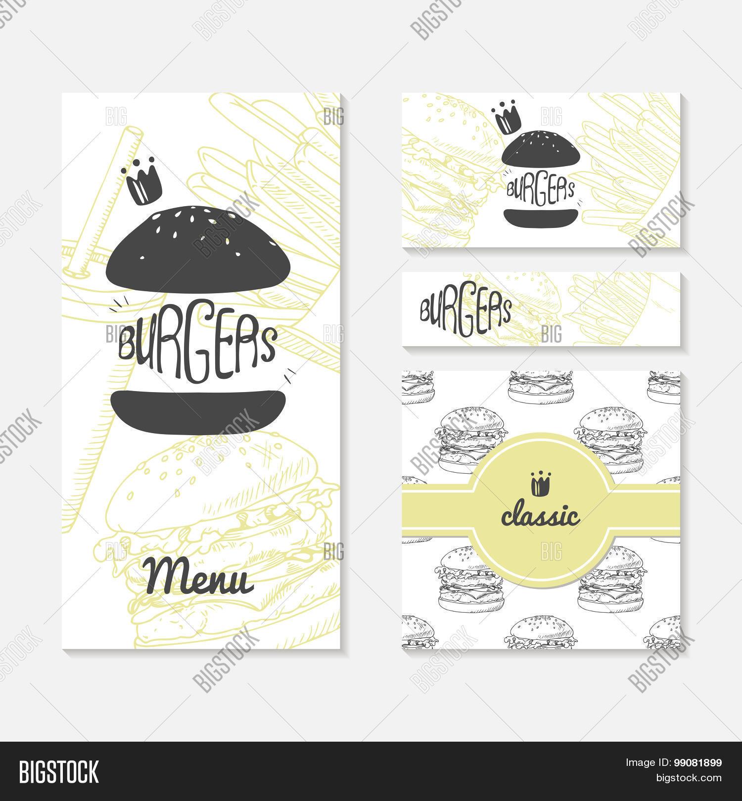 Set cards sketched burger fast vector photo bigstock set of cards with sketched burger fast food branding menu business card magicingreecefo Images