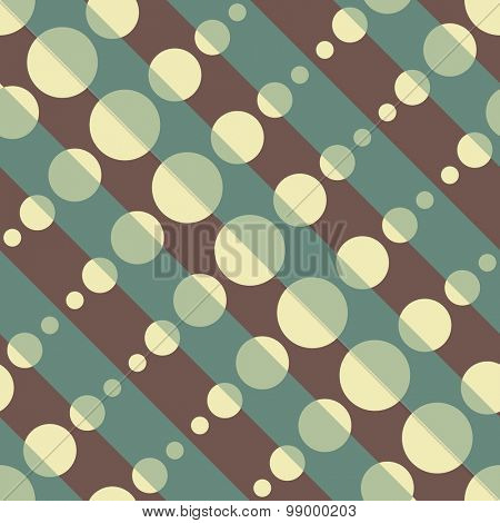 Seamless Diagonal Stripe and Circle Pattern. Vector Background