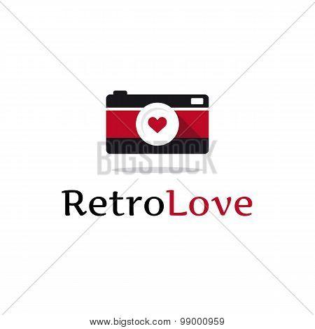 Vector flat retro photo camera logotype