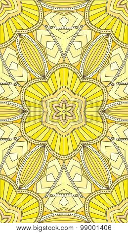 Seamless Abstract Tribal Pattern. Hand Drawn Ethnic Texture, Vector Illustration In Bright, Yellow T