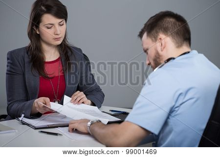 Boss Of The Hospital Is Talking With Her Employee