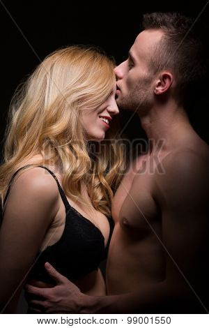 Passionate Lovers In Intimate Moment