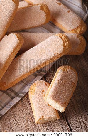 Cookies For Tiramisu Savoiardi Closeup. Vertical Top View
