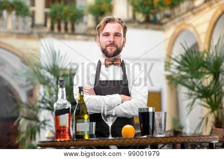Portrait of barman at the restaurant