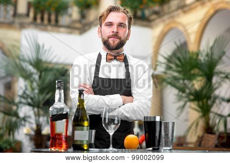 Portrait of barman at the restaurant