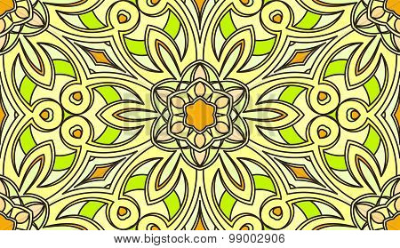 Seamless Abstract Tribal Pattern. Hand Drawn Ethnic Texture, Vector Illustration In Bright, Green, Y