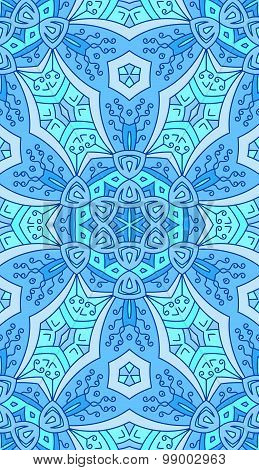 Seamless Abstract Tribal Pattern. Hand Drawn Ethnic Texture, Vector Illustration In Bright, Blue Ton