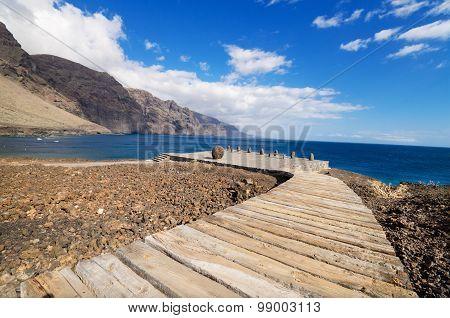 Wooden path walkway in Teno coast Tenerife Canary island Spain.