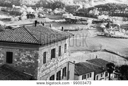 Italy. Tuscany. Montepulciano. In Black And White Toned. Retro Style