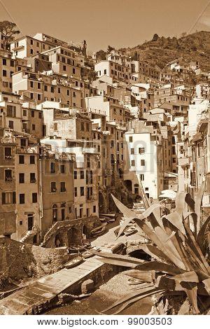 Italy. Cinque Terre. Riomaggiore Village. In Sepia Toned. Retro Style