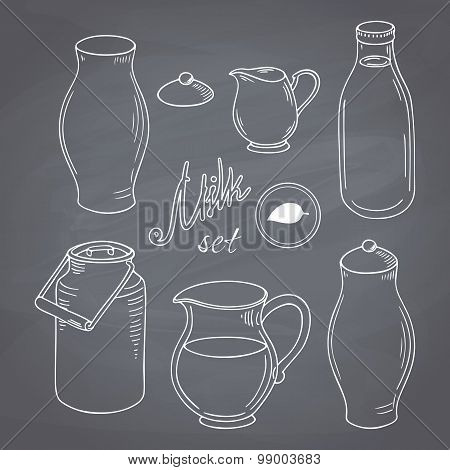 Set of hand drawn dairy farm objects. Milk goods clip art. Chalk style vector llustration
