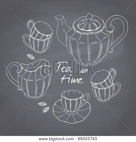 Hand drawn tea porcelain service set. Chalkboard background