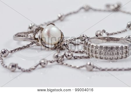 Silver Jewelry: Ring, Earrings And Chain