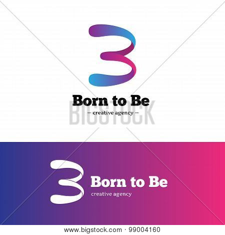 Vector modern creative B letter logo. Gradient abstract blue and violet logotype.
