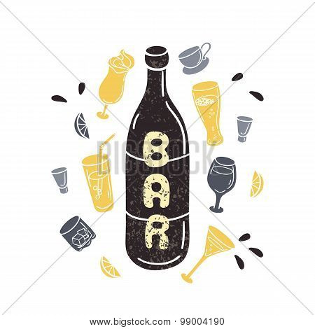 Doodle wine bottle illustration in vector. Hand drawn textured silhouettes