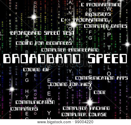 Broadband Speed Means World Wide Web And Computer